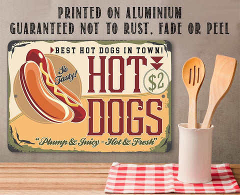 Image of Hot Dogs Sign - Metal Sign.