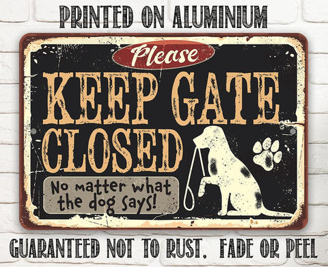 Image of Keep Gate Closed Dog - Metal Sign.