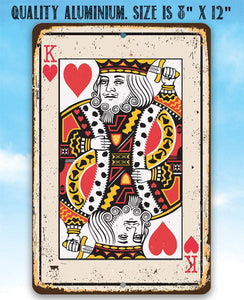 King of Hearts Card - Metal Sign.