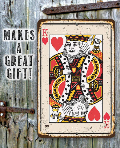 Image of King of Hearts Card - Metal Sign.