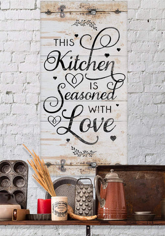 Image of This Kitchen Is Seasoned With Love Vertical - Canvas.