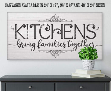 "Kitchens Bring Families Together-Large Canvas(Not Printed on Wood)-Above a Couch Kitchen and Dining Room Decor-Housewarming and Wedding Gift Wall Hangings Lone Star Art 12""x24"" Stretched"