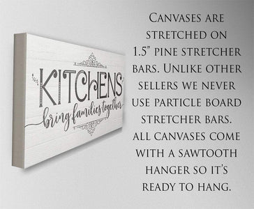 Kitchens Bring Families Together-Large Canvas(Not Printed on Wood)-Above a Couch Kitchen and Dining Room Decor-Housewarming and Wedding Gift Wall Hangings Lone Star Art