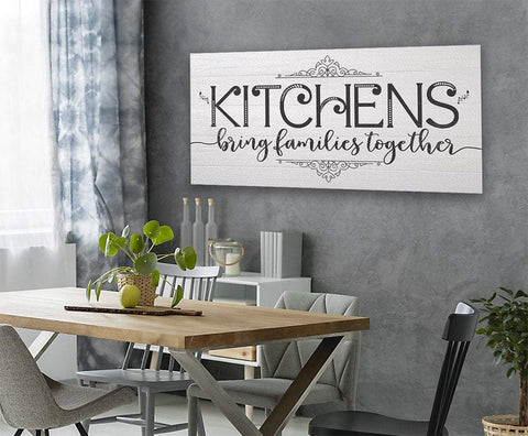 Image of Kitchens Bring Families Together-Large Canvas(Not Printed on Wood)-Above a Couch Kitchen and Dining Room Decor-Housewarming and Wedding Gift Wall Hangings Lone Star Art
