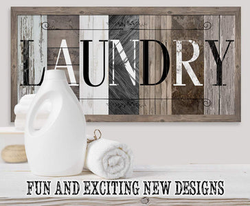 "Laundry in Multi Pattern - Large Canvas (Not Printed on Wood) - Stretched on a Heavy Wood Frame-Laundry Room Decor-Great Housewarming Gift Wall Hangings Lone Star Art 12""x24"" Stretched"