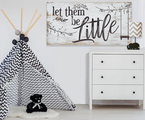 Let Them Be Little - Large Canvas Wall Art - Stretched on a Heavy Wood Frame - Ready to Hang - Perfect Nursery Decor-Great Baby Shower Gift Wall Hangings Lone Star Art