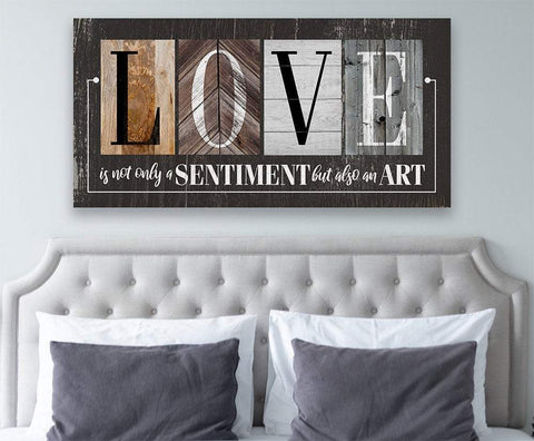 Image of Love Is Not Only A Sentiment in Multi Pattern -Large Canvas Wall(Not Printed on Wood)-Stretched on Wood-Couch or Headboard-Housewarming Gift