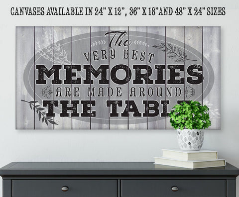 "Image of Memories Are Made - Large Canvas- Stretched on a Heavy Wood Frame-Perfect for Dining and Living Room Decor - Makes a Great Housewarming Gift Wall Hangings Lone Star Art 12""x24"" Stretched"