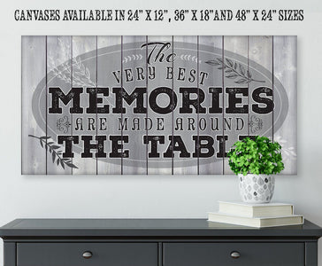 "Memories Are Made - Large Canvas- Stretched on a Heavy Wood Frame-Perfect for Dining and Living Room Decor - Makes a Great Housewarming Gift Wall Hangings Lone Star Art 12""x24"" Stretched"