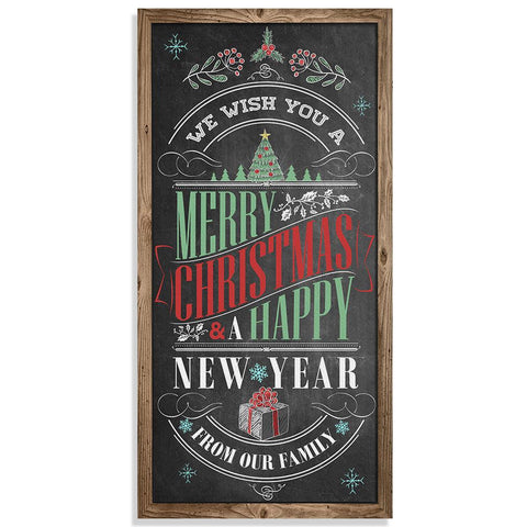 "Image of Merry Christmas & A Happy New Year - Canvas Lone Star Art 12"" x 24"""