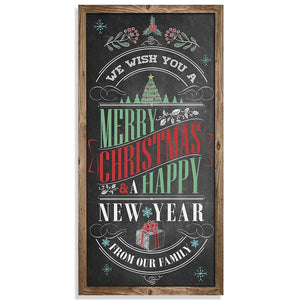 "Merry Christmas & A Happy New Year - Canvas Lone Star Art 12"" x 24"""