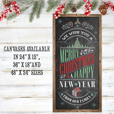 Image of Merry Christmas & A Happy New Year - Canvas Lone Star Art