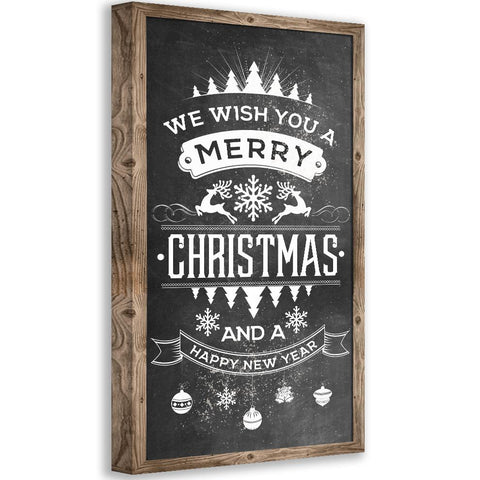 Image of Merry Christmas Happy New Year - Canvas Wall Hangings Lone Star Art