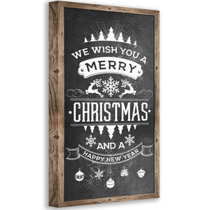 Merry Christmas Happy New Year - Canvas Wall Hangings Lone Star Art