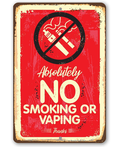 "Image of Metal Sign -Absolutely No Vaping Or Smoking- 8"" x 12"" or 12"" x 18"" Indoor/Outdoor -Great Business Signage Lone Star Art 8 x 12"