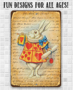Alice in Wonderland - White Rabbit Dressed As Herald - Metal Sign.