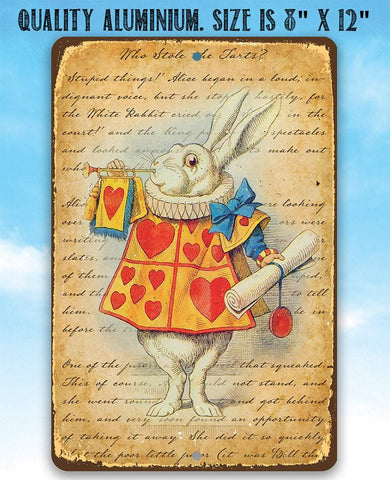 Image of Alice in Wonderland - White Rabbit Dressed As Herald - Metal Sign.