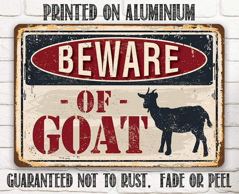 Image of Beware of Goat - Metal Sign.