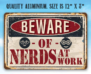 "Metal Sign - Beware of Nerds - 8"" x 12"" or 12"" x 18"" Use Indoor/Outdoor - Funny Gift and Decor for Office Lone Star Art"