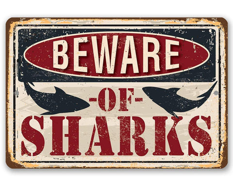 Image of Beware of Sharks - Metal Sign.