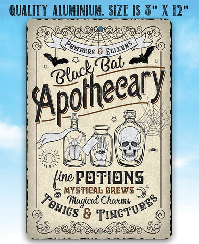 Image of Black Bat Apothecary - Metal Sign.