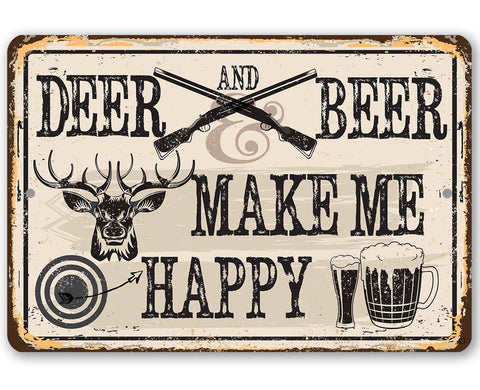 Deer and Beer - Metal Sign.