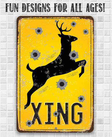 Deer Xing - Metal Sign.