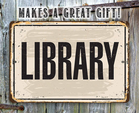 Image of Library  - Metal Sign.