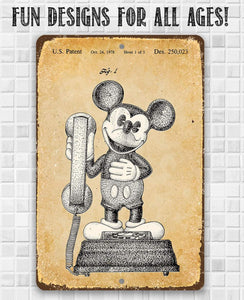 Mickey Mouse Phone - Metal Sign.