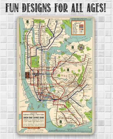 New York Subway Map 1948 - Metal Sign.
