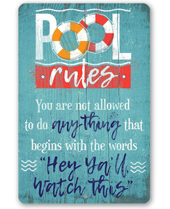 Pool Rules - Metal Sign.