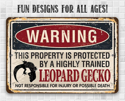 Image of Property Protected By Leopard Gecko - Metal Sign.