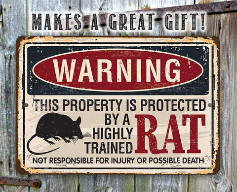 Image of Property Protected By Rat - Metal Sign.