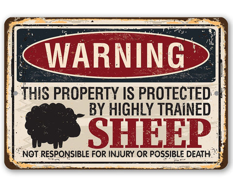 Image of Property Protected By Sheep - Metal Sign.
