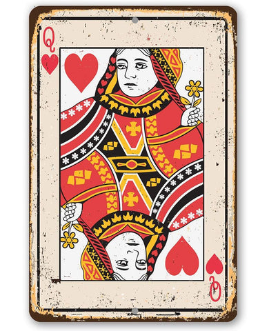Image of Queen of Hearts Card - Metal Sign.