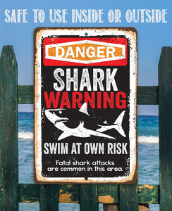 Shark Warning Swim At Own Risk - Metal Sign.