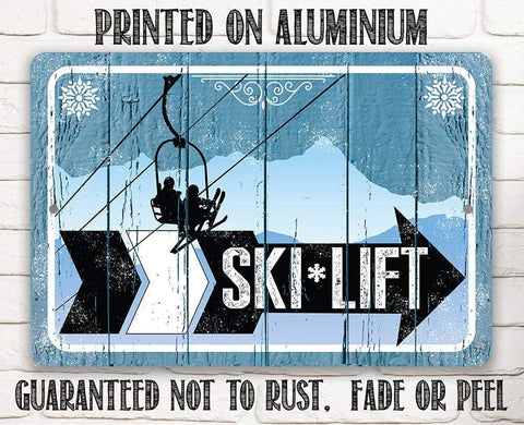 Image of Ski Lift Directional (Right) - Metal Sign.