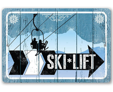 Ski Lift Directional (Right) - Metal Sign.