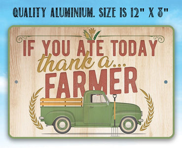 "Metal Sign - Thank a Farmer - 8"" x 12"" or 12"" x 18 Indoor/Outdoor -Decor for Home, Restaurant/Grocery Store Lone Star Art"