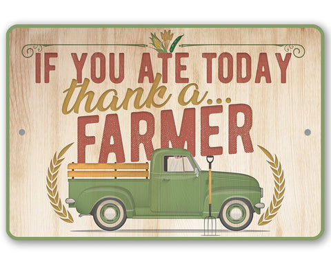 "Image of Metal Sign - Thank a Farmer - 8"" x 12"" or 12"" x 18 Indoor/Outdoor -Decor for Home, Restaurant/Grocery Store Lone Star Art 8 x 12"