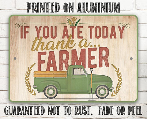 "Image of Metal Sign - Thank a Farmer - 8"" x 12"" or 12"" x 18 Indoor/Outdoor -Decor for Home, Restaurant/Grocery Store Lone Star Art"