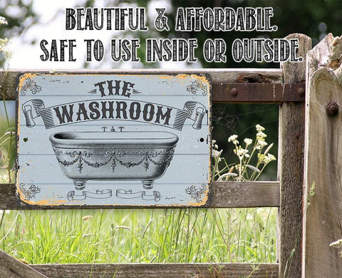 "Image of Metal Sign -The Washroom- Durable Metal Sign - 8"" x 12"" or 12"" x 18"" Use Indoor/Outdoor -Great Bathroom Decor Lone Star Art"