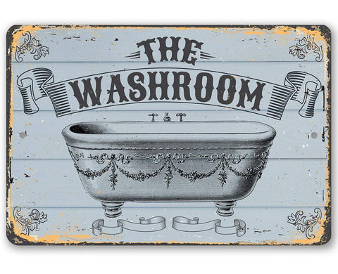 "Image of Metal Sign -The Washroom- Durable Metal Sign - 8"" x 12"" or 12"" x 18"" Use Indoor/Outdoor -Great Bathroom Decor Lone Star Art 8 x 12"