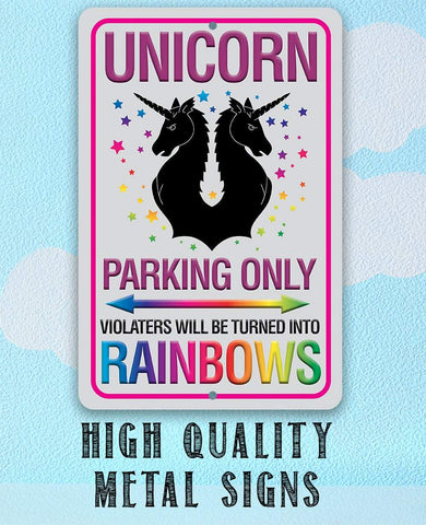 Unicorn Parking Only - Metal Sign.