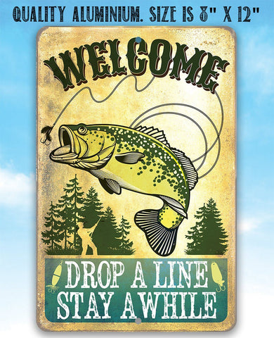 Welcome Drop A Line - Metal Sign.