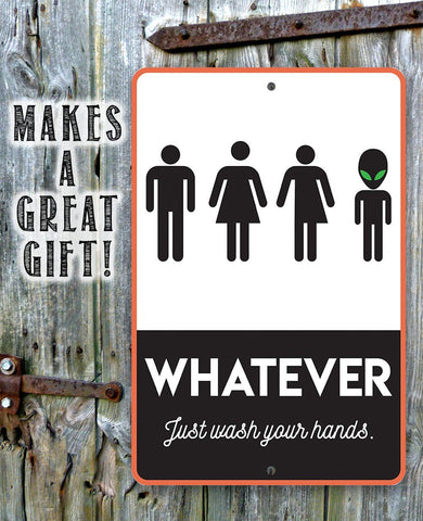 "Image of Metal Sign -Whatever Just Wash Your Hands-8""x12"" or 12""x18"" Use Indoor/Outdoor-Funny Decor for Bathroom Lone Star Art"