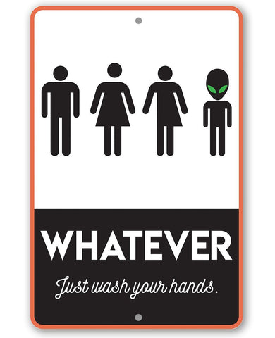 "Image of Metal Sign -Whatever Just Wash Your Hands-8""x12"" or 12""x18"" Use Indoor/Outdoor-Funny Decor for Bathroom Lone Star Art 8 x 12"