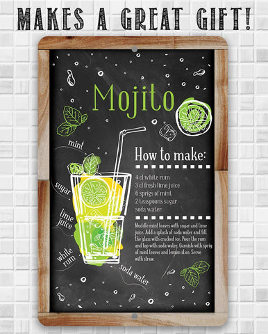 Image of Mojito Bar Recipe - Metal Sign.
