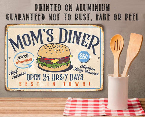 "Image of Mom's Diner - Durable Metal Sign - 8"" x 12"" or 12"" x 18"" Use Indoor/Outdoor - Dining Room and Kitchen Decor - Great Mother's Day Gift Lone Star Art"