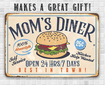 "Mom's Diner - Durable Metal Sign - 8"" x 12"" or 12"" x 18"" Use Indoor/Outdoor - Dining Room and Kitchen Decor - Great Mother's Day Gift Lone Star Art"